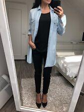 Robe chemise tunique denim jean bleu clair 36 38 H&M mini shirt dress 8 10