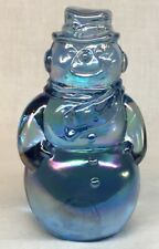Fenton Art Glass Ice Blue Carnival  Snowman