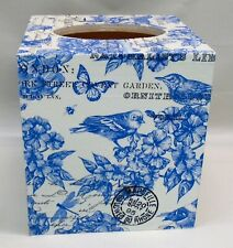Made To Order, Handmade Decoupage Tissue Box Cover, White & Blue-Birds-Floral