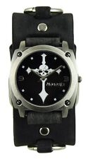Nemesis Skull Cross Watch with Faded Black Leather Ring Cuff Band Punk Style