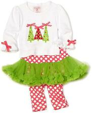 Mud Pie Baby Girls Pettiskirt Set 2 Pc Tutu Outfit Christmas Trees Pink 3M 6M