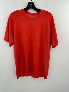 Lululemon Medium T-Shirt Athletic Metal Vent Tech Men Orange Short Sleeve A36-10
