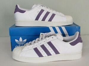 Adidas Originals Superstar Womens 9 Athletic Sneakers White/Purple 3-Stripes NEW