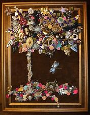 Vintage Jewelry Art Tree, Framed & Signed