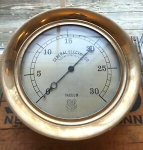 "Fabulous Early 1900's 11"" EX Large Brass GE General Electric VACUUM Engine Gauge"