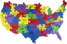 """USA Map Foam Puzzle 25"""" X15"""" X 0.3"""" - 40 Pieces (States, Capitals & Big Cities)"""