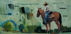 JOSE TRUJILLO Oil Painting IMPRESSIONISM HORSE COWBOY EXPRESSIONISM SIGNED NR