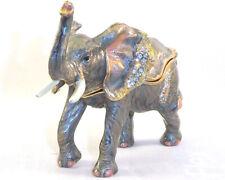 Walking Elephant Trinket / Jewelry Box Pewter Bejeweled Treasures