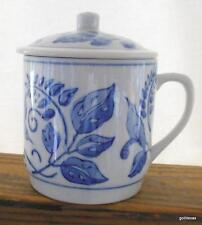 Blue and White Covered Tea Coffee Mug Birds and Leaves 4""