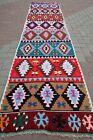 "Vintage Turkish Colorfull Long Kilim Runner, Carpet Runner, Hallway Rug 32""X130"""