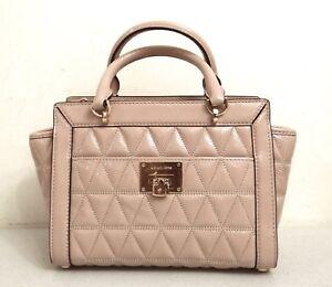 Michael Kors Vivianne Beige Oyster Patent Leather Small Satchel Messenger Bag