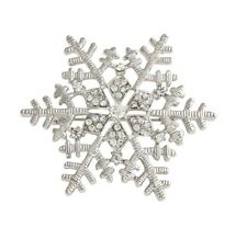 Luxury Silver Snowflake Diamante Crystal Rhinestones Winter Brooch/ Pin Holiday
