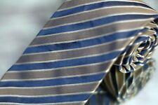 Dolcepunta Men's Tie Navy Platinum Woven Stripe Luxury Silk Necktie