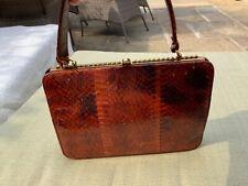 Holmes, vintage snakeskin handbag, brown, very pretty grab bag, leather