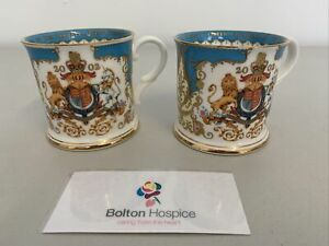 The Royal Collection English Bone China Pair Of Mugs Golden Jubilee 2002 #350