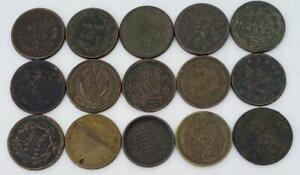 15 Piece Lot US Civil War Tokens L10448