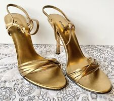 Bebe Women's Gold Leather Strappy High Heels Stiletto Shoes Size 8.5 M
