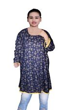 Indian Women's Cotton Top Tunic Ethnic Wedding Wear Gold Print Frock Suit Blue