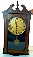 "Antique 1960s Westminster 33"" Pendulum Clock Chime Wood Case Glass Germany w/Key"