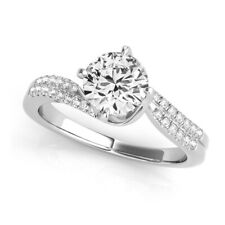 Natural GIA Certified Round Cut Diamond Engagement Ring 14k White Gold 1.12ct