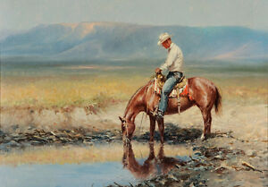Cowboy Landscape Country Western Horse Riding Quality Canvas Print A4