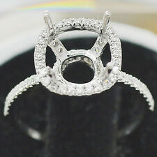 8x8mm Cushion Cut Solid 14kt White Gold Natural Diamonds Semi Mount Ring
