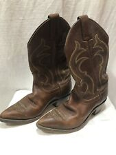 Justin Women 6 Western Cowboy Boots Leather Brown Etching