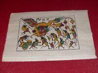 ART TRADITIONNEL VIETNAM BELLE GRAVURE SUR BOIS (DONG HO) Rats Dragon 38x26cm