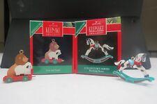 Hallmark 1990 Miniature Ornaments Lion And Lamb Qxm567-6 Rocking Horse Qxm574-3