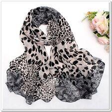 leopardos bufanda pañuelo Chifón Ligero Animal Estampado Marrón Negro