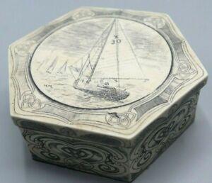 Vintage Faux Scrimshaw Creamware Nautical Trinket Box Signed H.H.