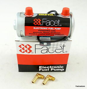 FUEL PUMP GENUINE FACET SILVER TOP UP TO 150 BHP NEW 476087E WITH UNIONS
