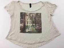Full Tilt Womens Shirt Blouse Follow Your Dreams Short Sleeve L Forest Graphic