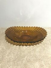 """Pretty Amber Glass Decorative Oval Dish With Fluted Edges ~ Length 13"""""""