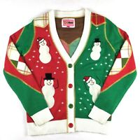 Tipsy Elves Christmas Ugly Sweater Cardigan Size Medium Red Green Plaid Snowman