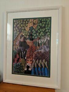 Louis Rosemond Haitian Art Jungle Scene Framed Painting 1986