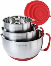 Rorence Stainless Steel Non-Slip Mixing Bowls With Pour Spout, Handle and Lid,