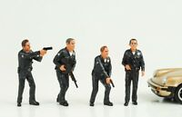 Cop Officer Police Polizei 4 Figurines Figur figures Set 1:24 American Diorama