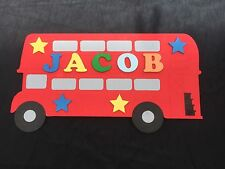 Personalised Wooden Name Plate Children Door or Wall Sign London Bus