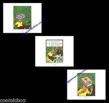 3 Ex-libris TINTIN et Les CIGARES du PHARAON affiche Hergé triptyque figurine BD