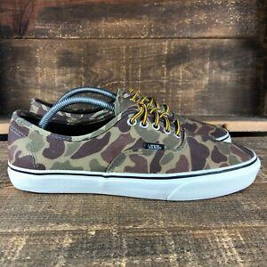 Vans Mens Era TC8R Green Low Top Canvas Camouflage Skate Shoes Size 10.5