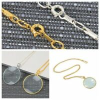 5X Monocle Magnifying Glass on Necklace Chain Magnifier Pendant Silver Gold New