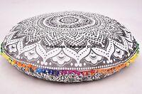 Indian Black & White Round Floor Pillow Cover Boho Gypsy Decor Cushion Pouf Sham