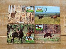ANGOLA 1990 PHQ MAXI CARDS x 4 WWF SABLE ANTELOPE
