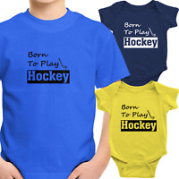 Born To Play Hockey Toddler Kids Tee T-Shirt Infant Baby Bodysuit Outfit Clothes