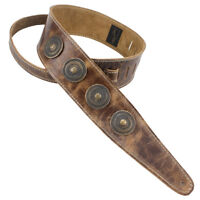 Henry Heller Peruvian 2.5 in Leather Guitar Strap Medallion Vintage Brown, New!