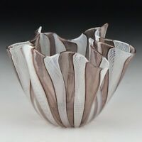 Signed Venini Murano Art Glass Latticino Purple White Handkerchief Vase