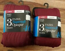 Neues AngebotM&s 3 Pack 40 Denier superweicher Opaque tights Size L Large 6 Paare burgund
