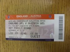 07/10/2005 BIGLIETTO: Inghilterra U21 V Austria U21 [AT LEEDS UNITED]. a meno che non precedente
