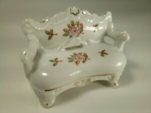Vintage Porcelain Miniature Dollhouse Living Room Sofa Made In Japan With Repair